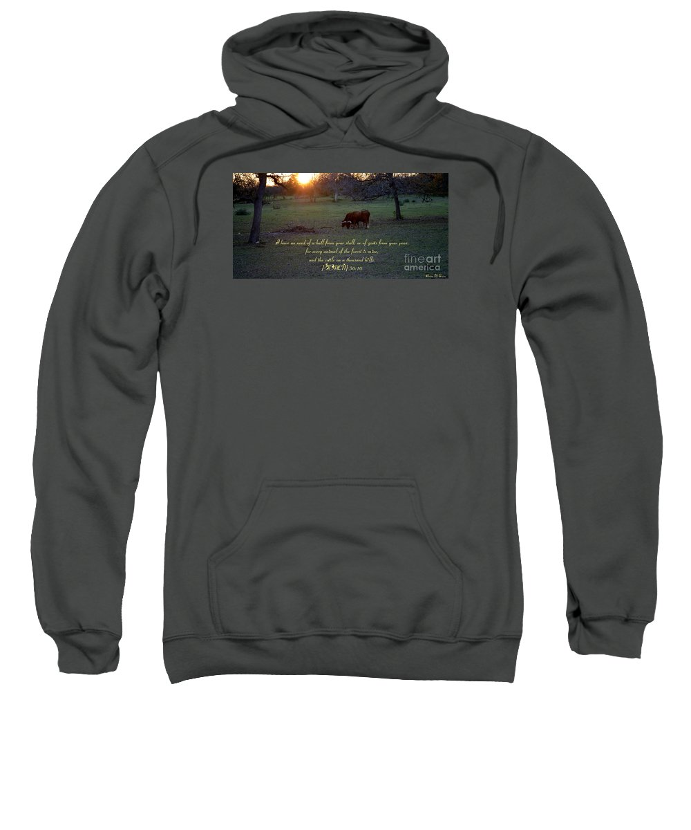 Spiritual Sweatshirt featuring the photograph Cattle On A Thousand Hills by Donna Brown