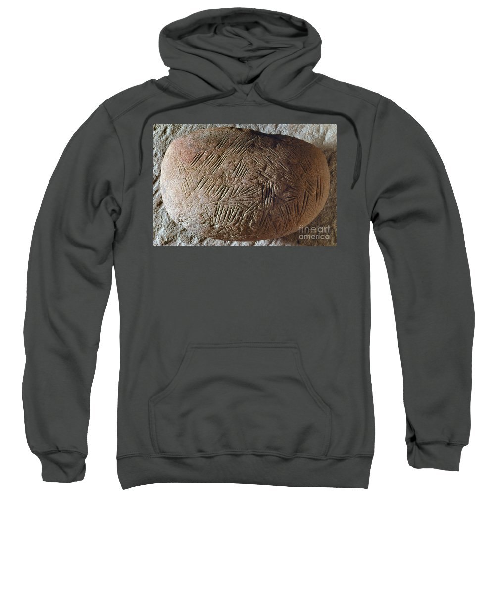 20 Sweatshirt featuring the photograph Cave Art: Incised Rock by Granger