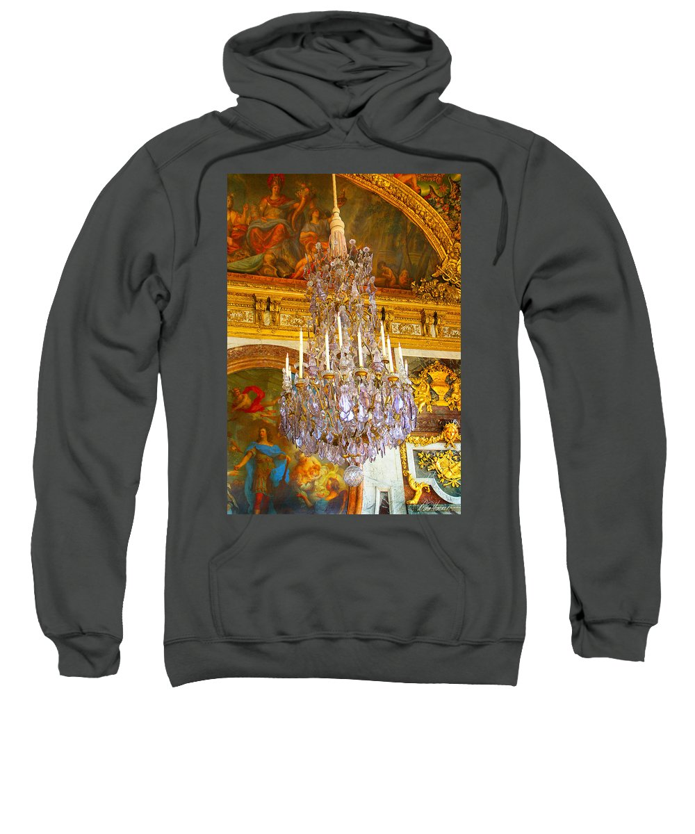 Chandelier Sweatshirt featuring the photograph Chandelier At Versailles by Diana Haronis