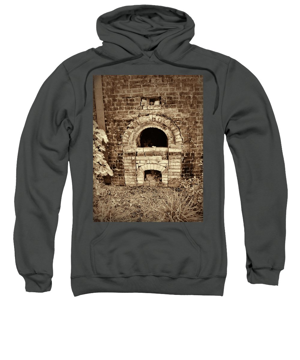 Brick Kiln Sweatshirt featuring the photograph Circa 1800s Brick Kiln Fire Box In Sepia by Kathy Clark
