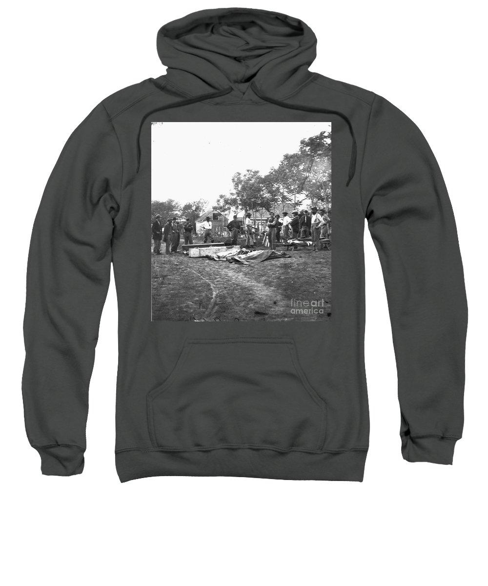 1864 Sweatshirt featuring the photograph Civil War Burial, 1864 by Granger