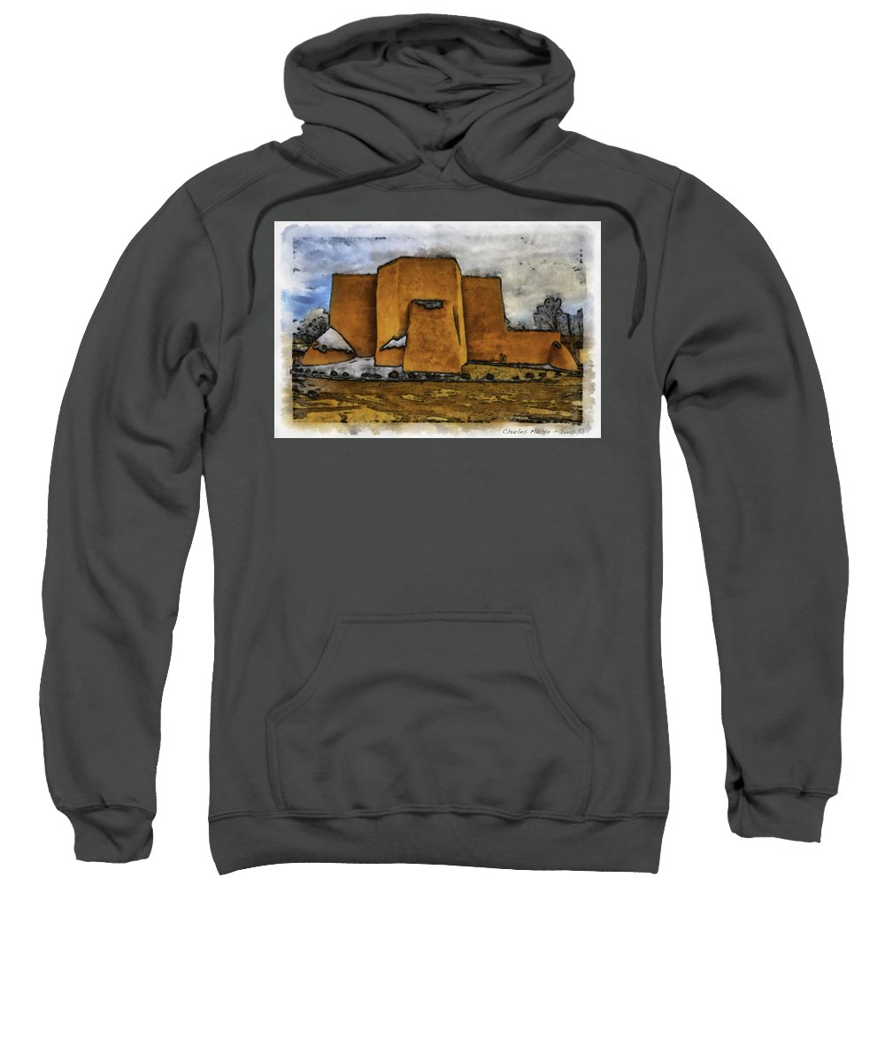 Adams Sweatshirt featuring the digital art Classic View Aquarell by Charles Muhle