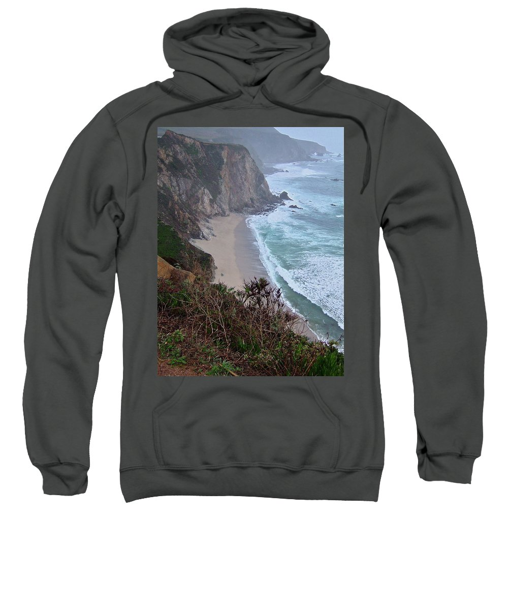 Spectacular Sweatshirt featuring the photograph Cliffs And Surf On The California Coast by Susan Wyman