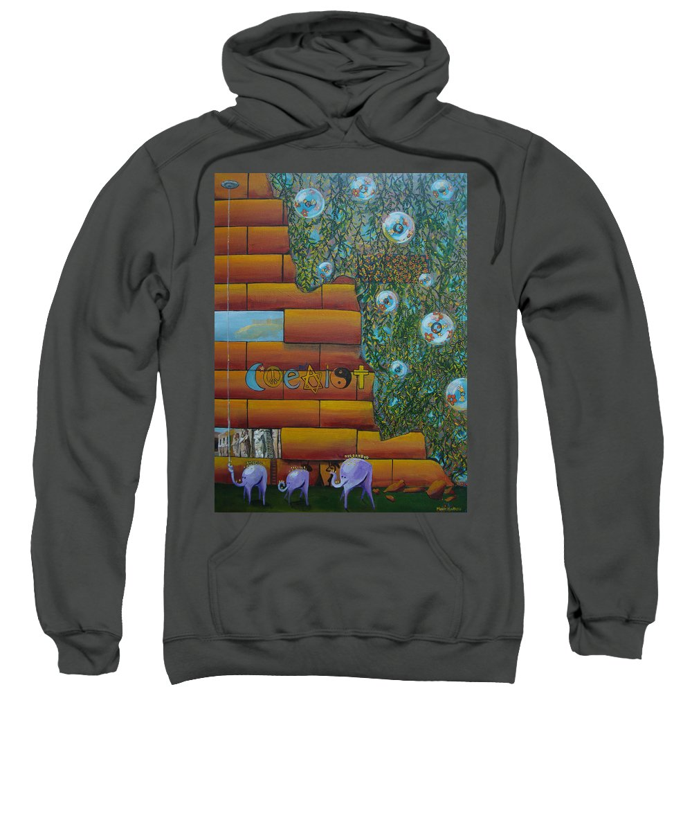 Coexist Sweatshirt featuring the painting Coexist by Mindy Huntress