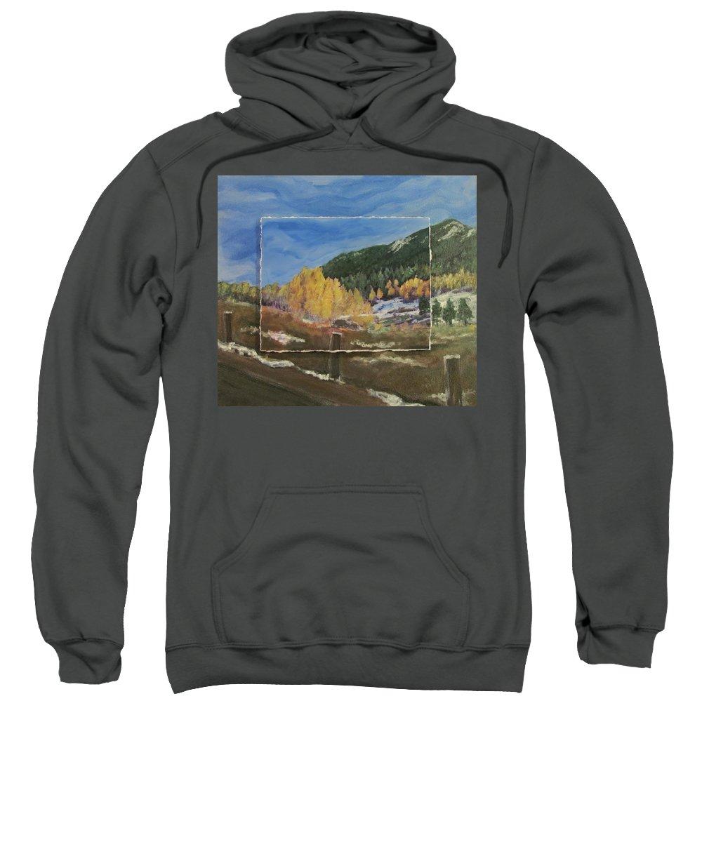Colorado Sweatshirt featuring the mixed media Colorado Almost Winter by Anita Burgermeister