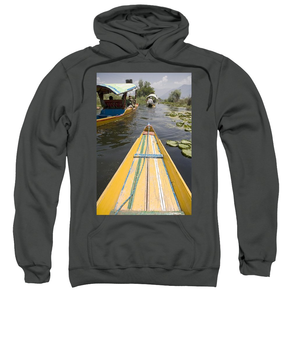 Rear View Sweatshirt featuring the photograph Colorful Boats On Dal Lake Dal Lake by David DuChemin