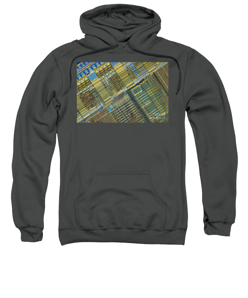 Science Sweatshirt featuring the photograph Computer Chip by Michael W. Davidson