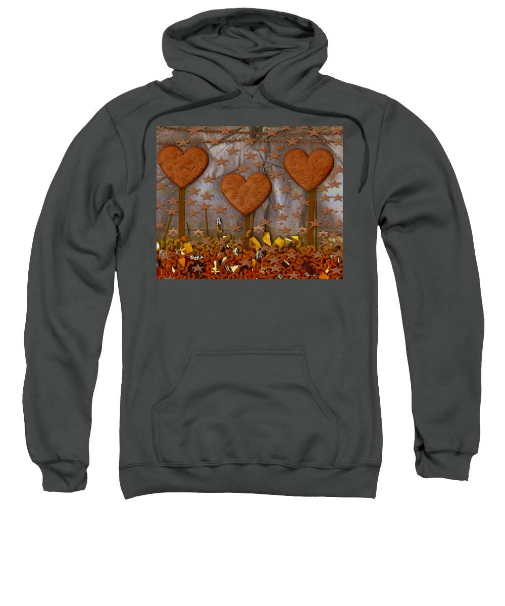Cookie Sweatshirt featuring the mixed media Cookie Trees by Pepita Selles