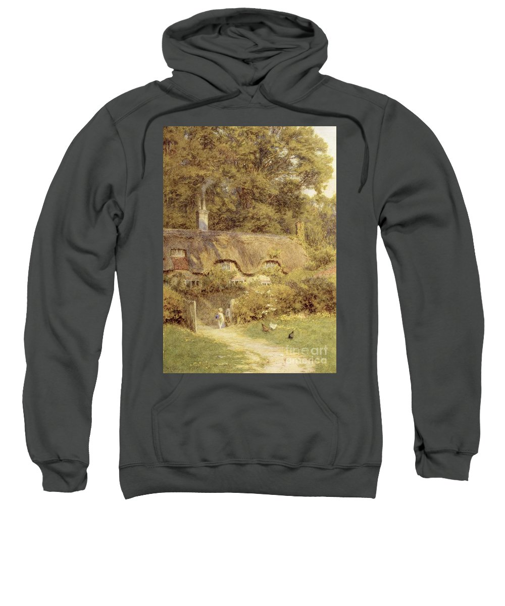 Child; Gate; Rural Scene; Country; Countryside; Home; Path; Garden; House; Wildflowers; Chicken; Picturesque; Idyllic; Female Sweatshirt featuring the painting Cottage At Farringford Isle Of Wight by Helen Allingham