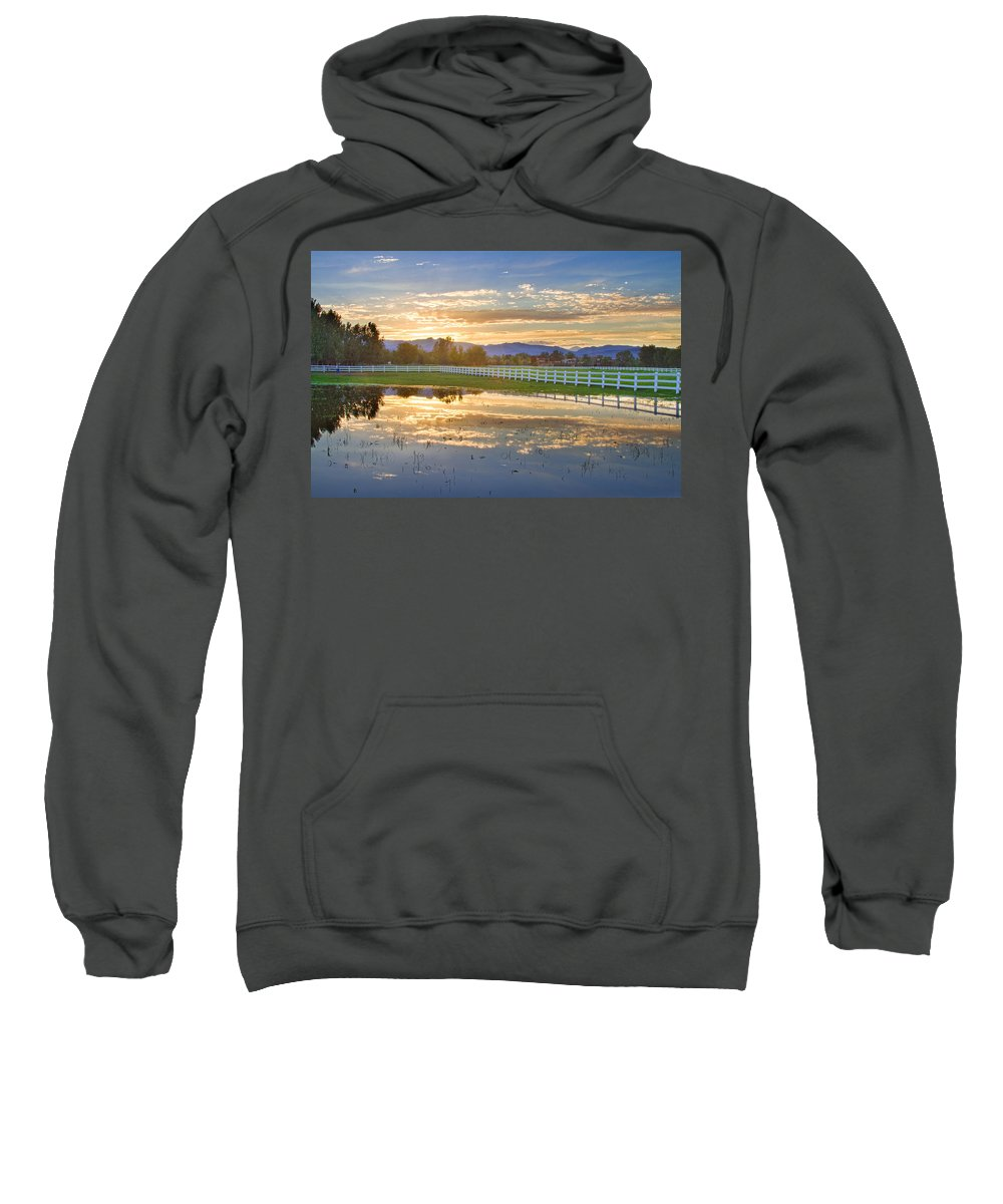 colorado Nature Sweatshirt featuring the photograph Country Sunset Reflection by James BO Insogna