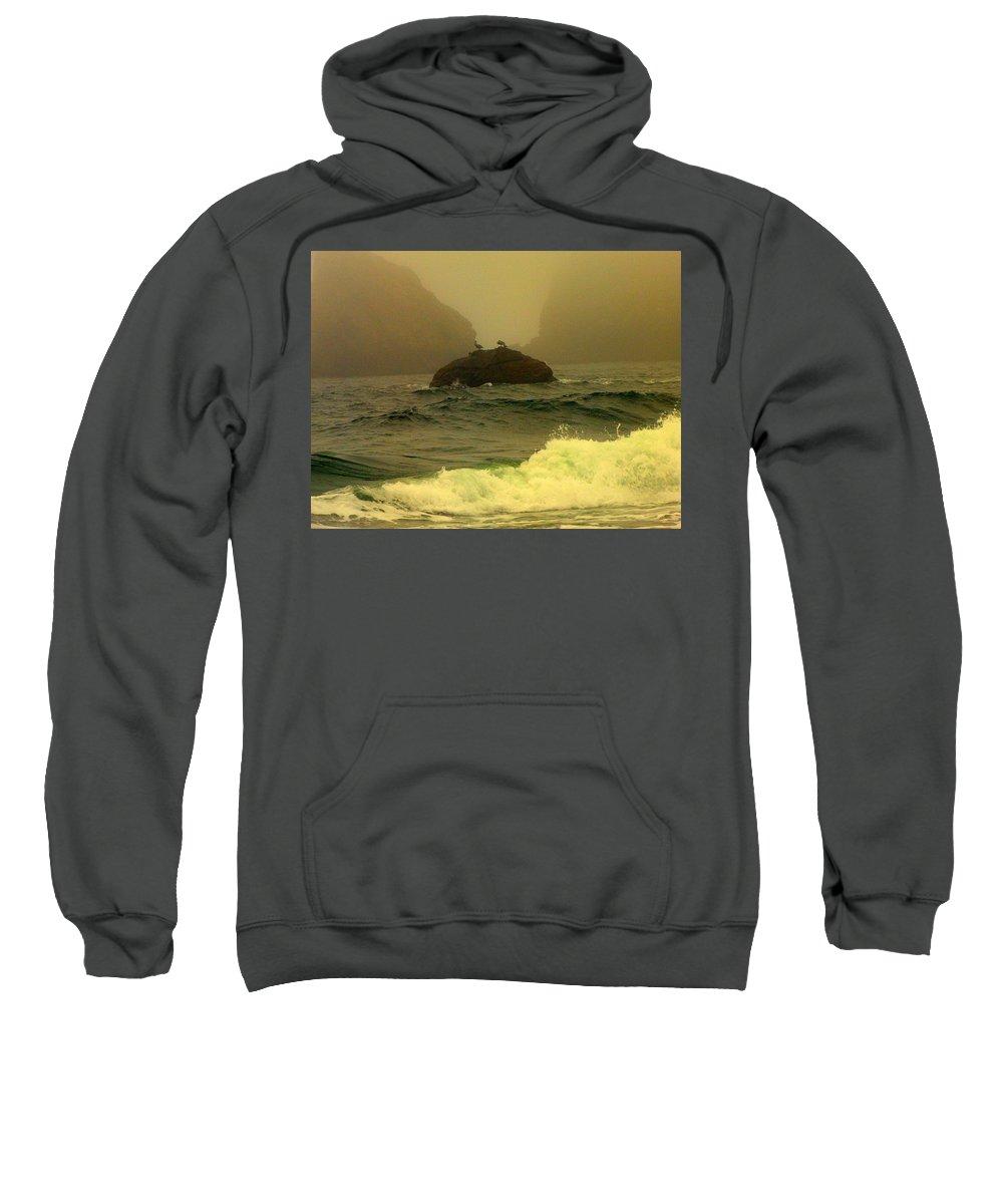 Oregon Coast Sweatshirt featuring the photograph Crashing Waves And Fog by Judy Garrett