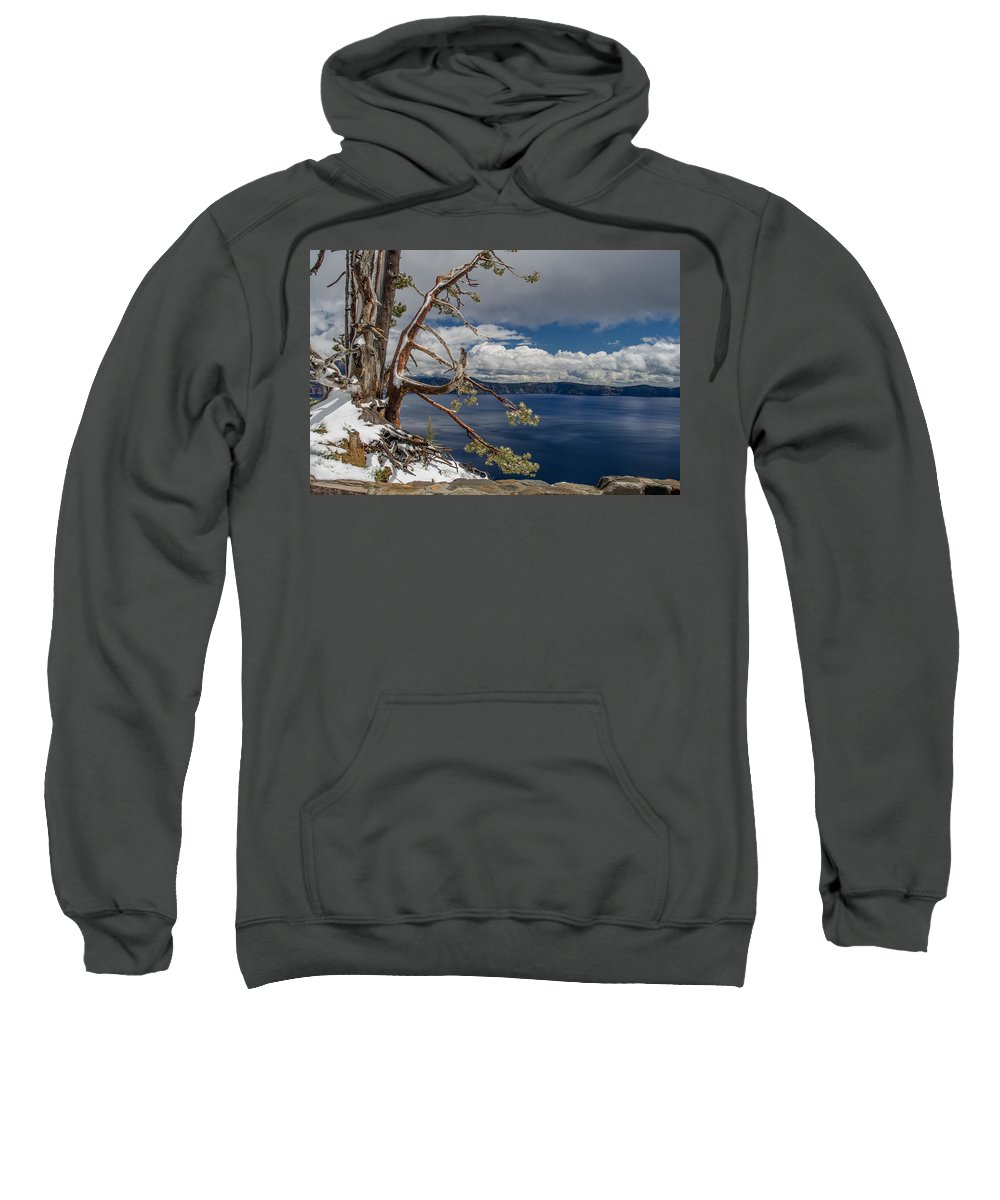 Cascades Sweatshirt featuring the photograph Crater Lake Pine by Greg Nyquist