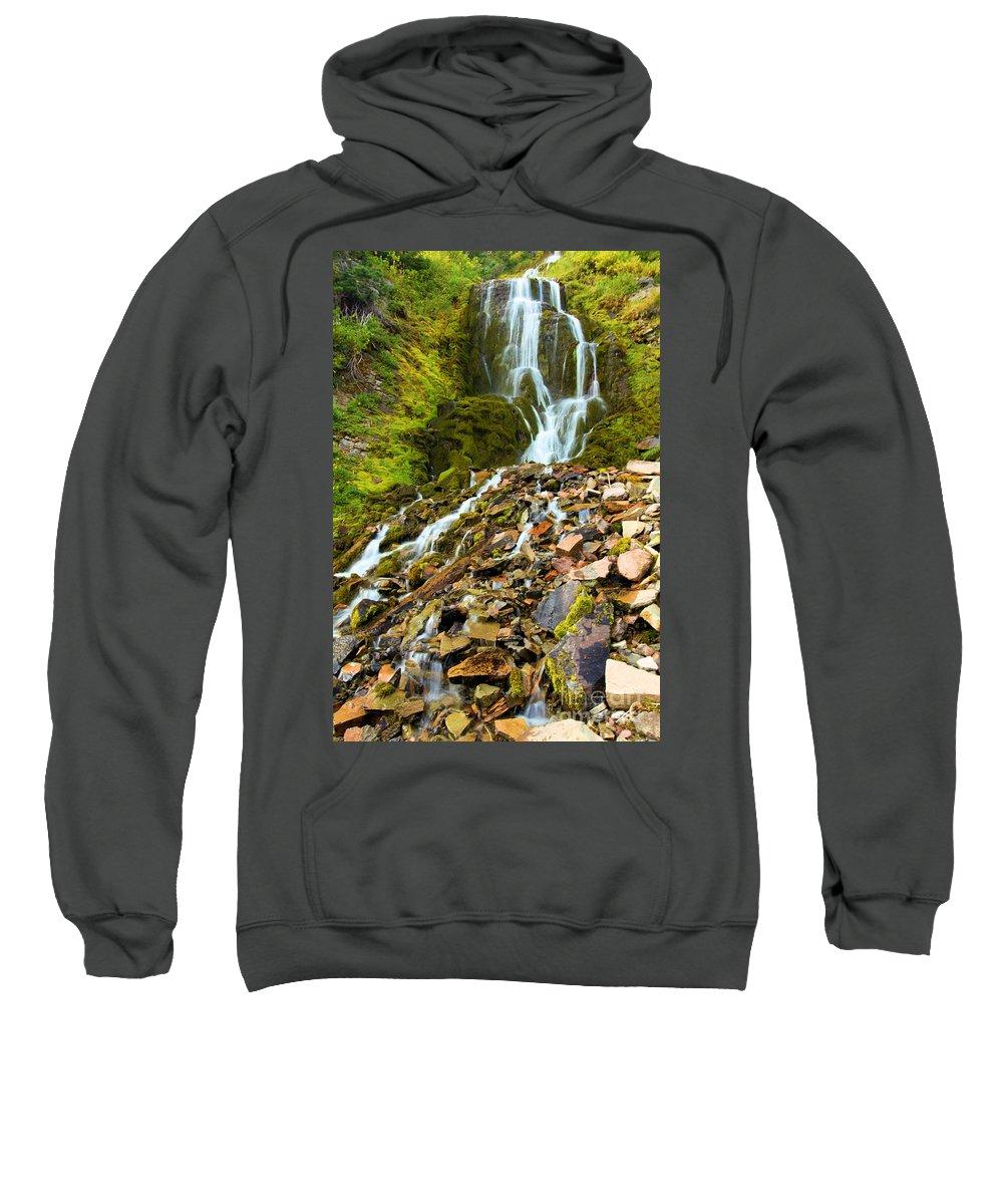 Vidae Falls Sweatshirt featuring the photograph Crater Lake Waterfall by Adam Jewell