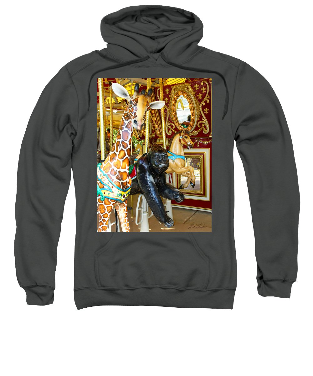 Carousel Sweatshirt featuring the photograph Curious Carousel Beasts by Diana Haronis