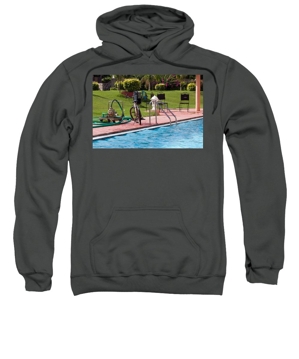 Cycle Sweatshirt featuring the photograph Cycle Near A Swimming Pool And Greenery by Ashish Agarwal