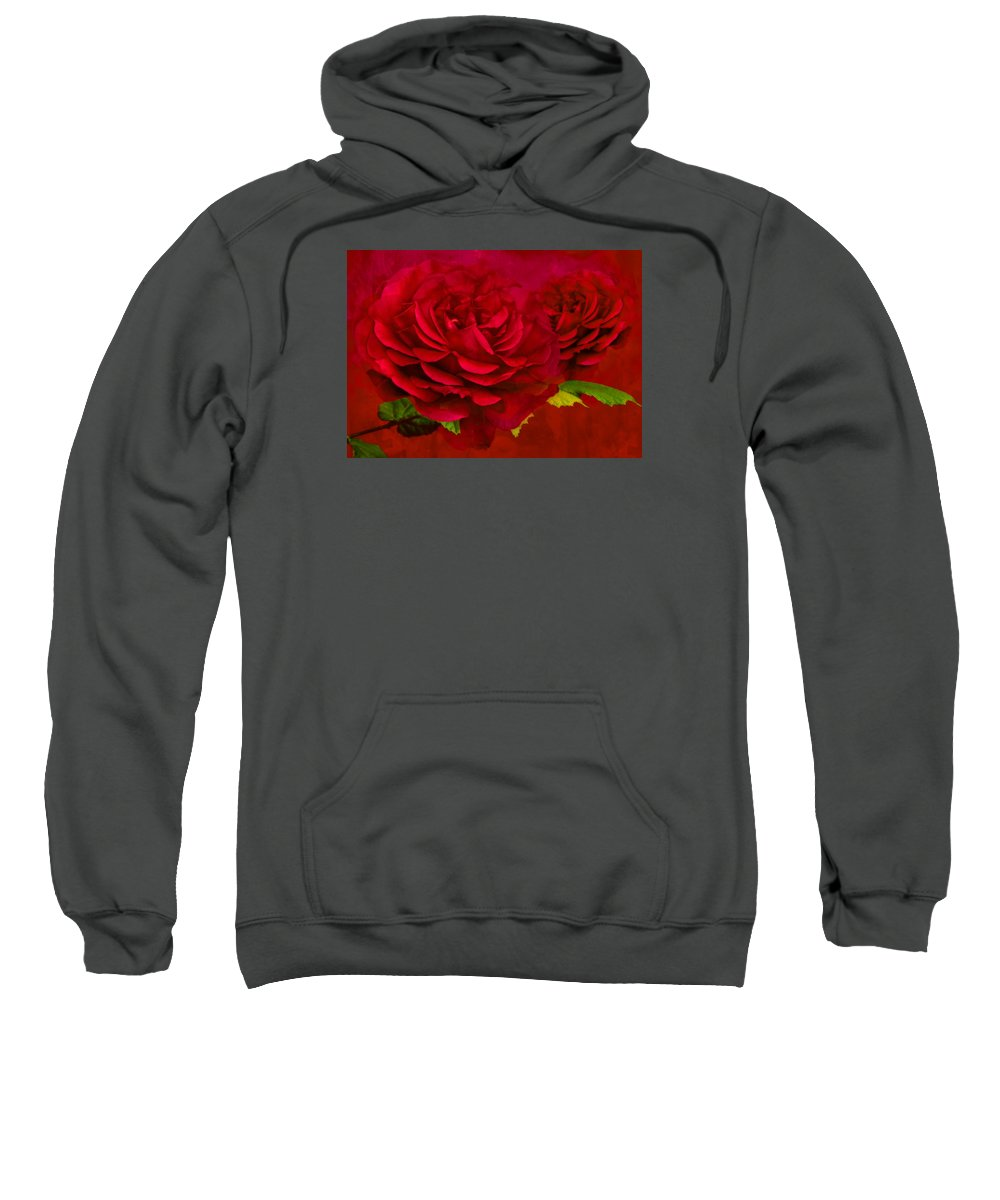 Abstract Sweatshirt featuring the photograph Dark Pink Rose by Steve Purnell
