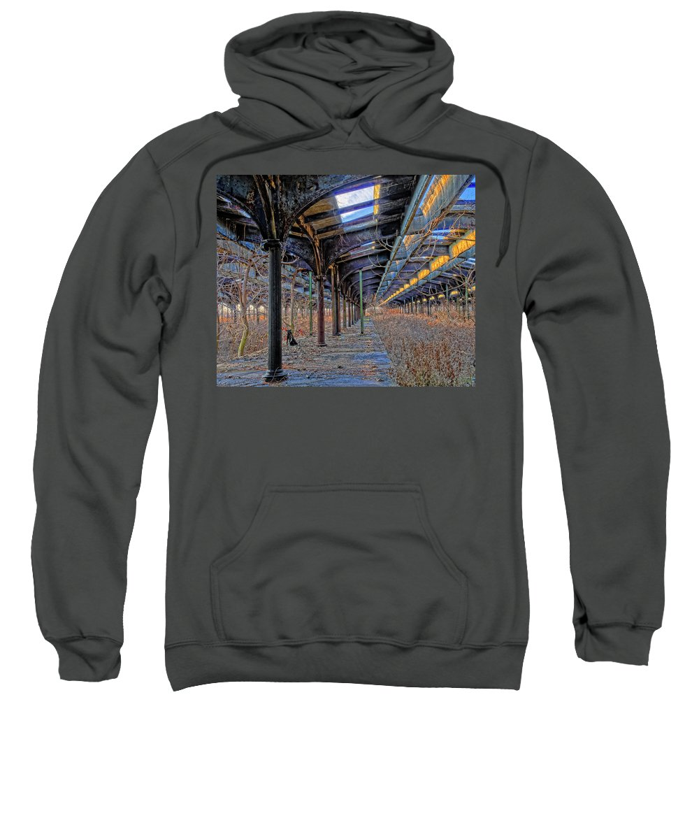 Railroad Sweatshirt featuring the photograph Deserted Railroad Platforms by Dave Mills