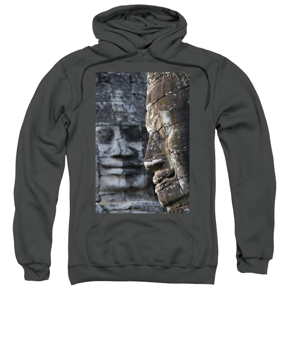 Ancient Civilisation Sweatshirt featuring the photograph Detail Of Some Of The 216 Giant Faces by Axiom Photographic