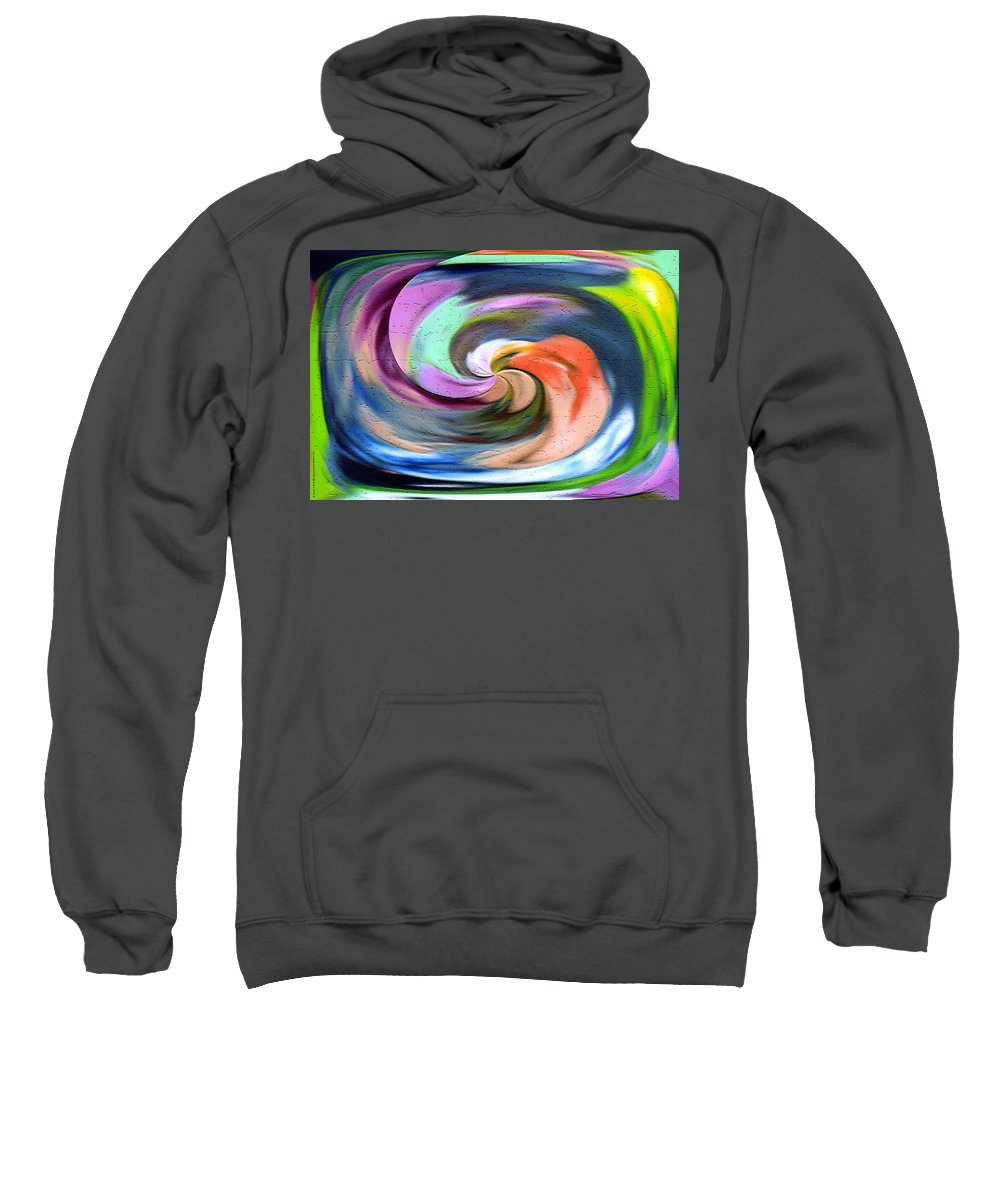 Original Sweatshirt featuring the digital art Digital Swirl Of Color 2001 by Carl Deaville