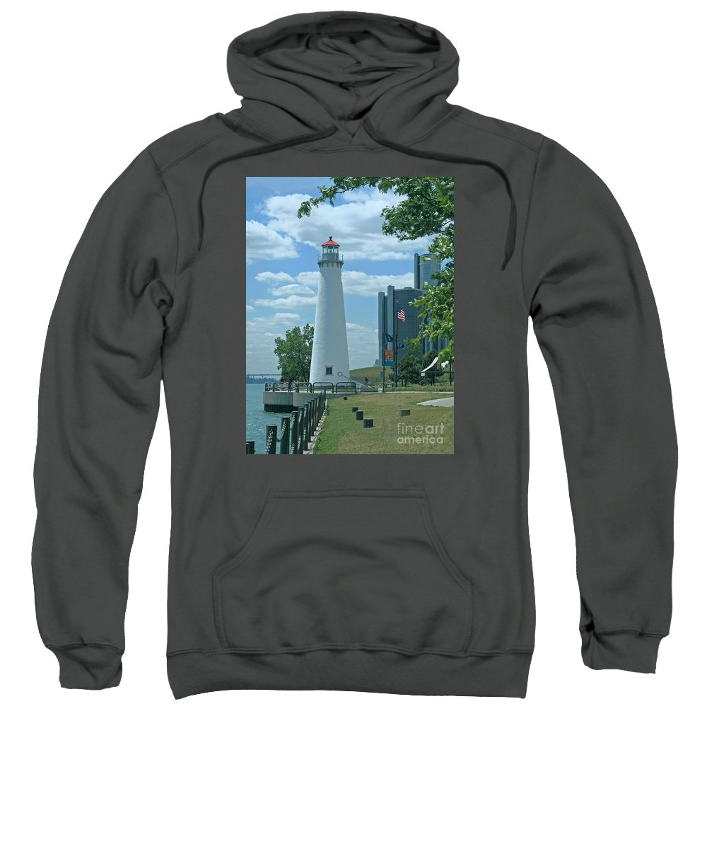Detroit Sweatshirt featuring the photograph Downtown Detroit Lighthouse by Ann Horn