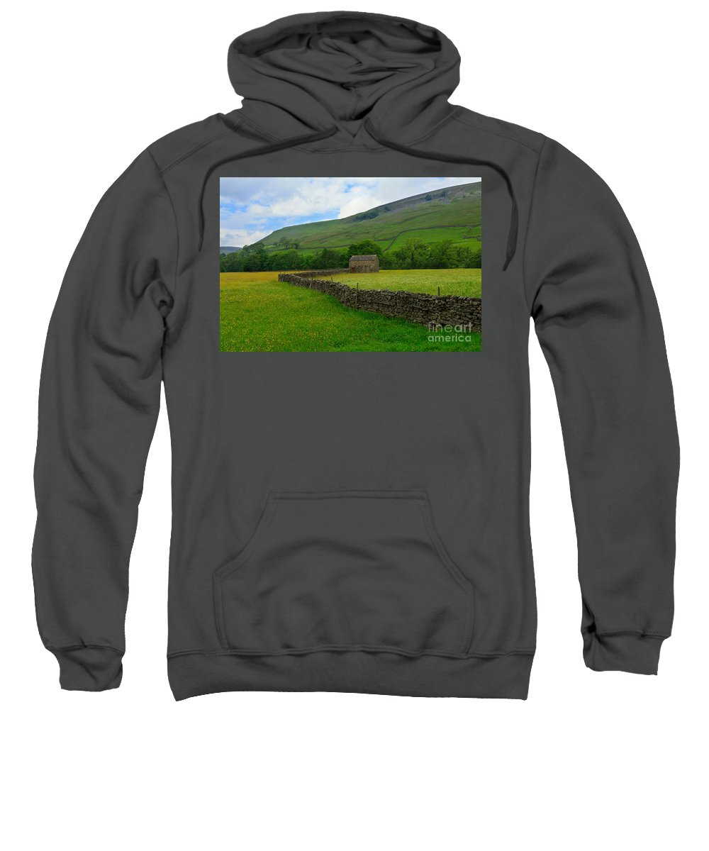 Field Sweatshirt featuring the photograph Dry Stone Walls And Stone Barn by Louise Heusinkveld