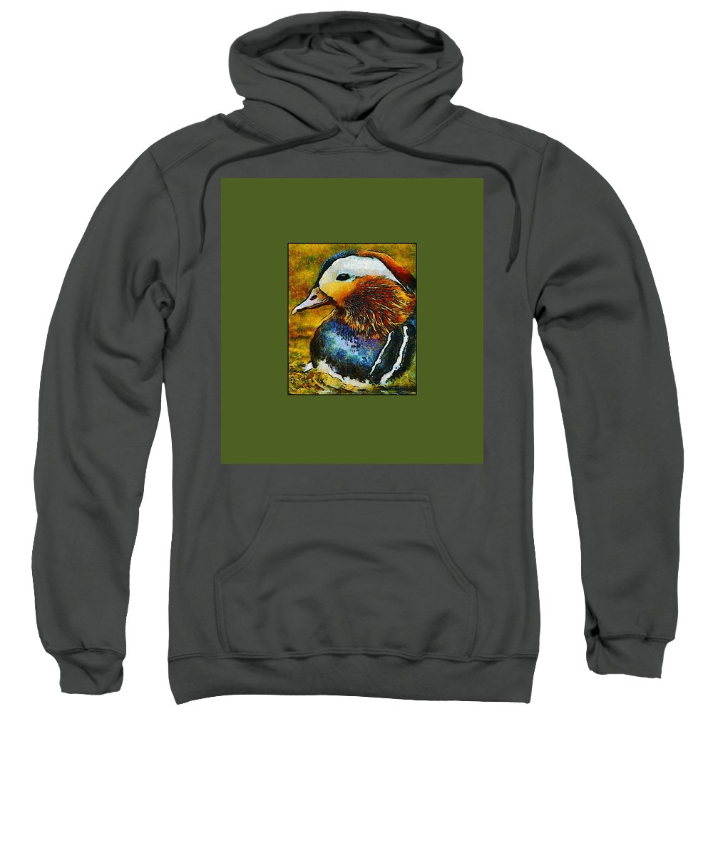 Painting Sweatshirt featuring the mixed media Duck Waddle Quack by Georgiana Romanovna
