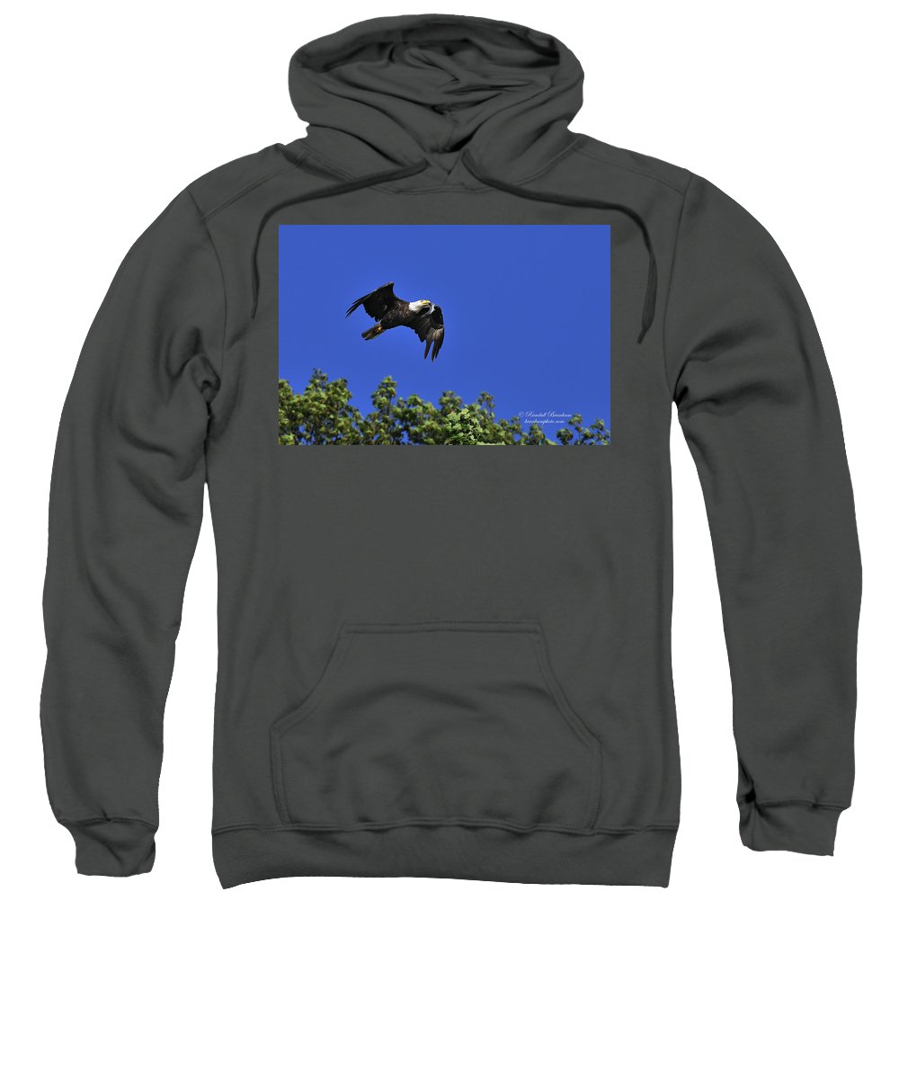 Eagle Over Tree Top Sweatshirt featuring the photograph Eagle Over The Tree Top by Randall Branham