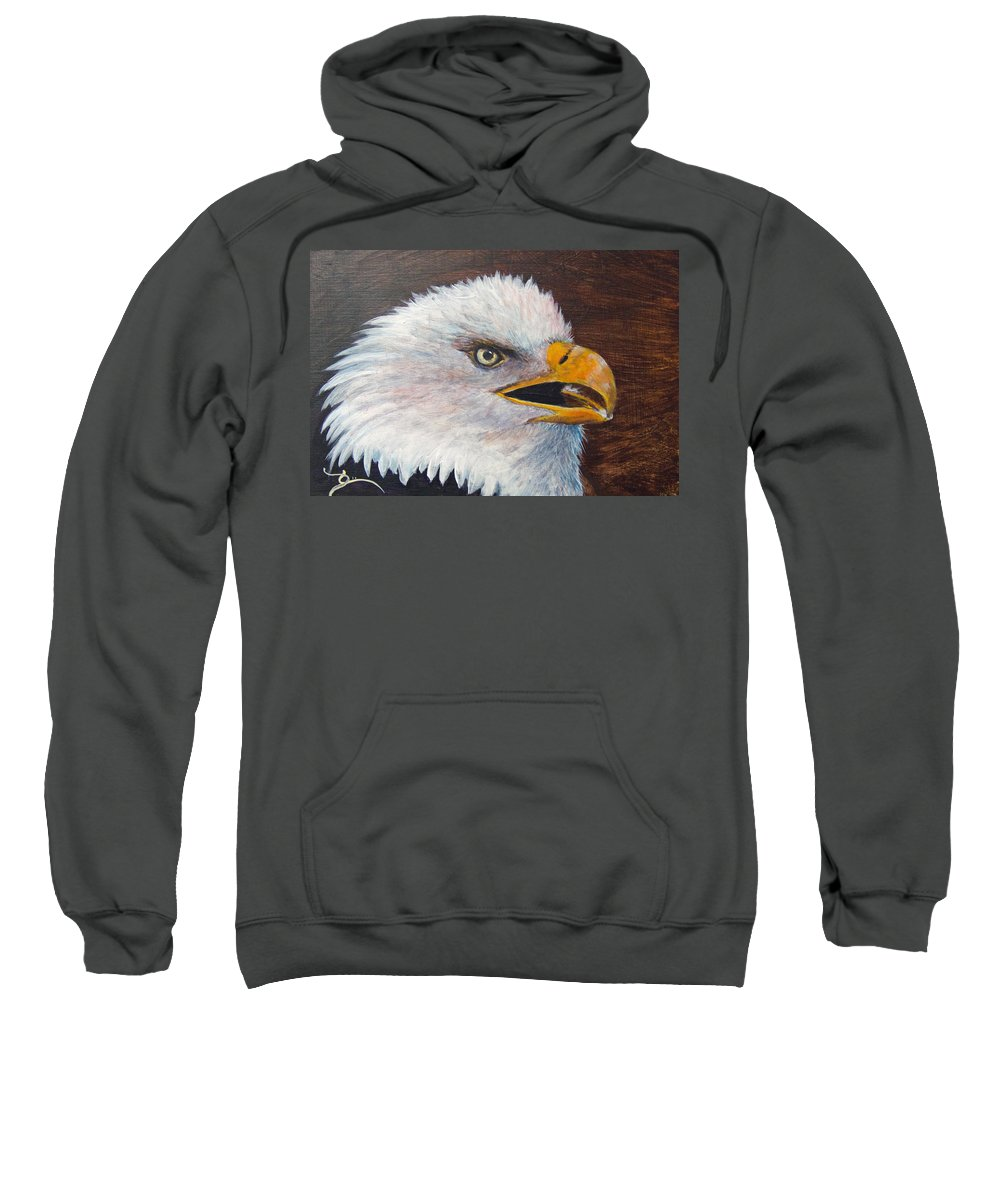 Eagle Sweatshirt featuring the painting Eagle Study by Dee Carpenter