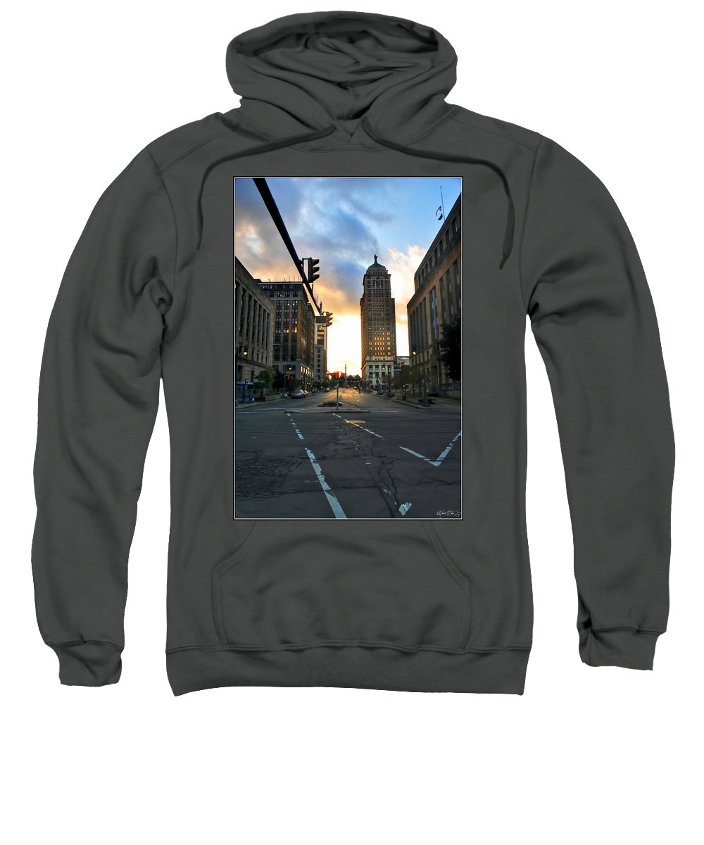 Sweatshirt featuring the photograph Early Morning Court Street by Michael Frank Jr