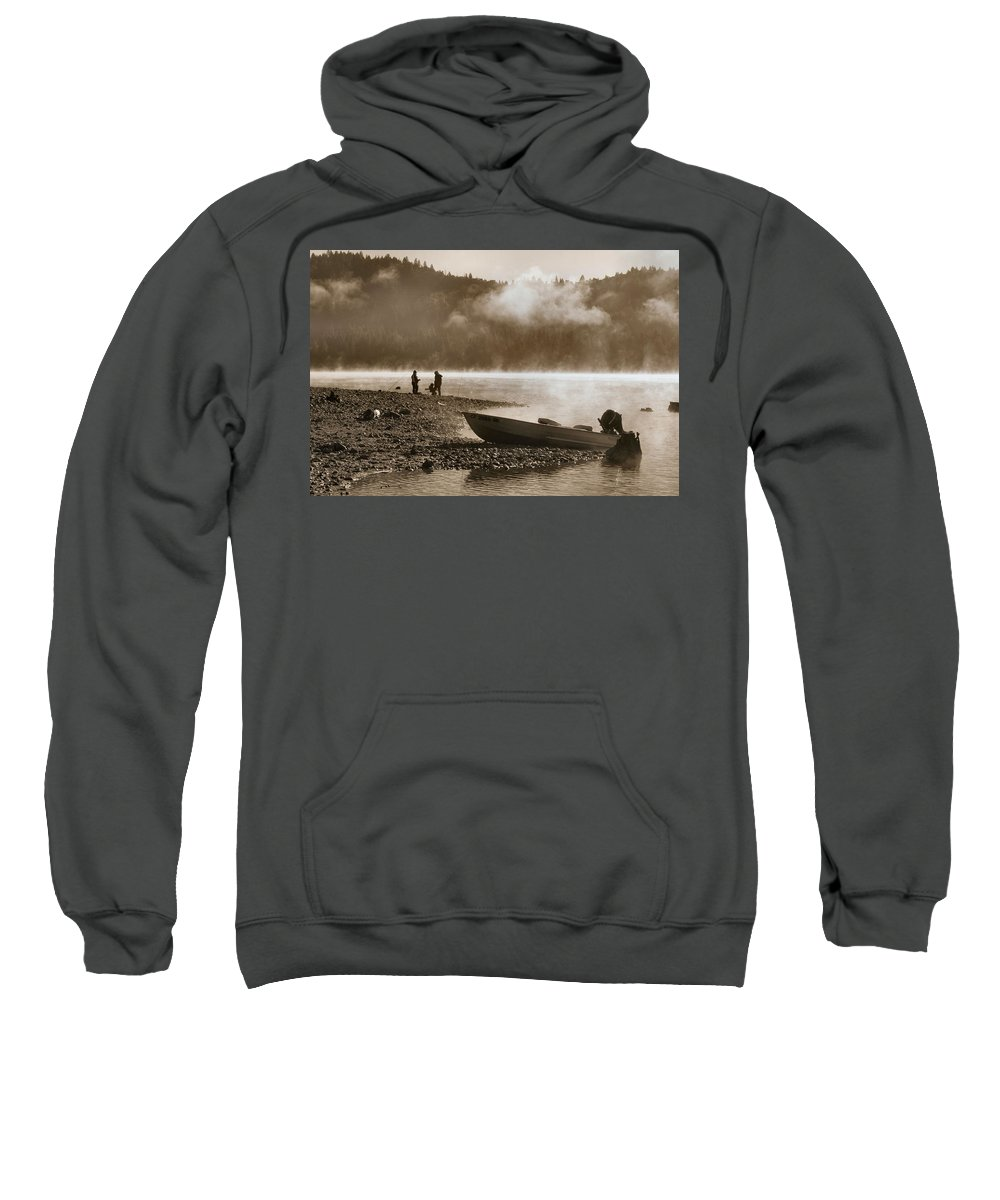 Mountain Lake Sweatshirt featuring the photograph Early Morning Fishing On Scotts Flat Lake In Sepia by Sally Bauer
