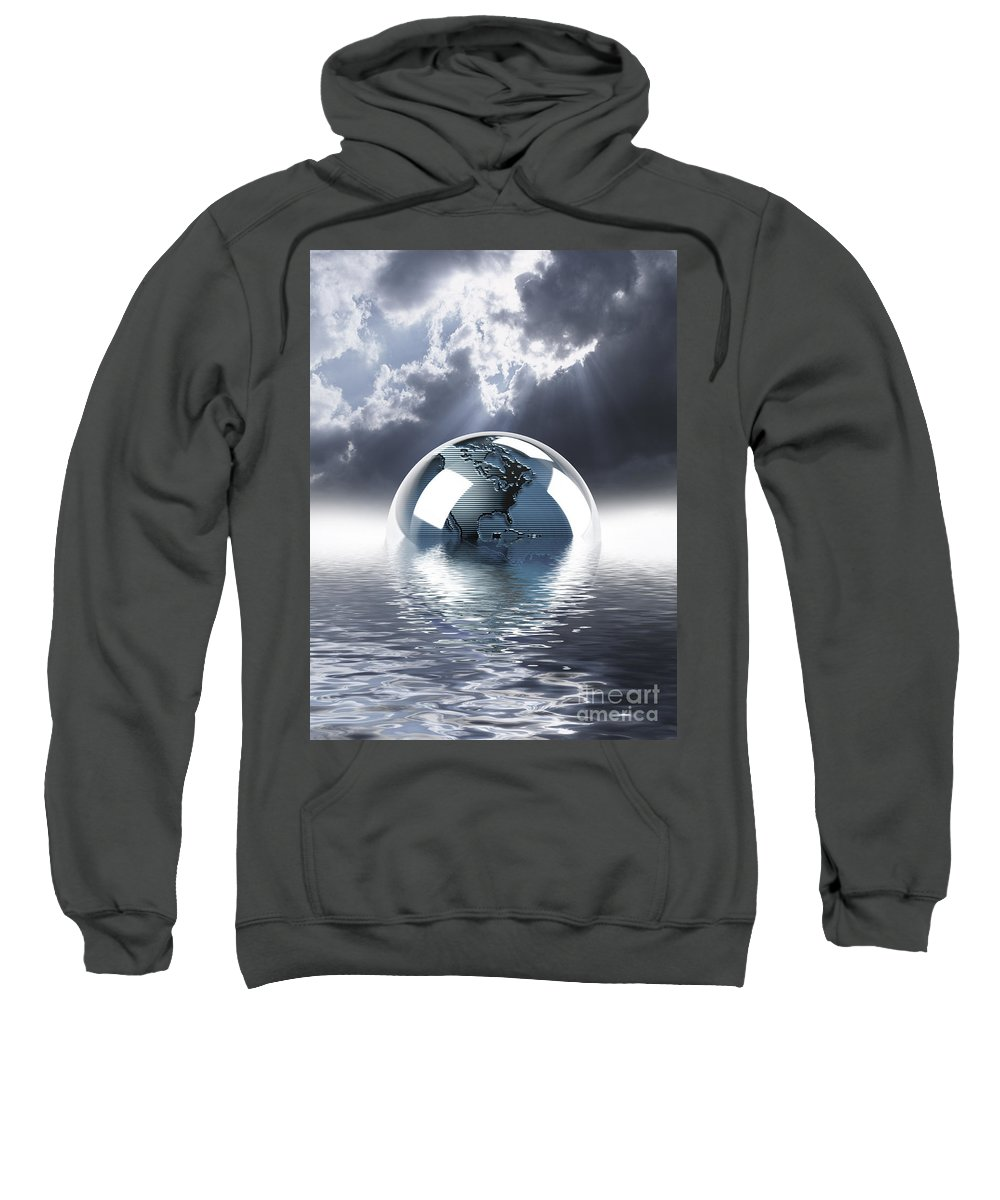 Concept Sweatshirt featuring the digital art Earth Globe Reflection by Mike Agliolo and Photo Researchers