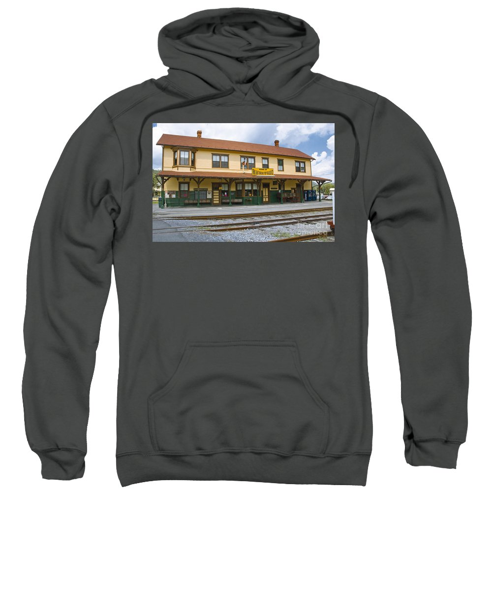 East Broad Top Sweatshirt featuring the photograph East Broad Top Station 2 by Tim Mulina