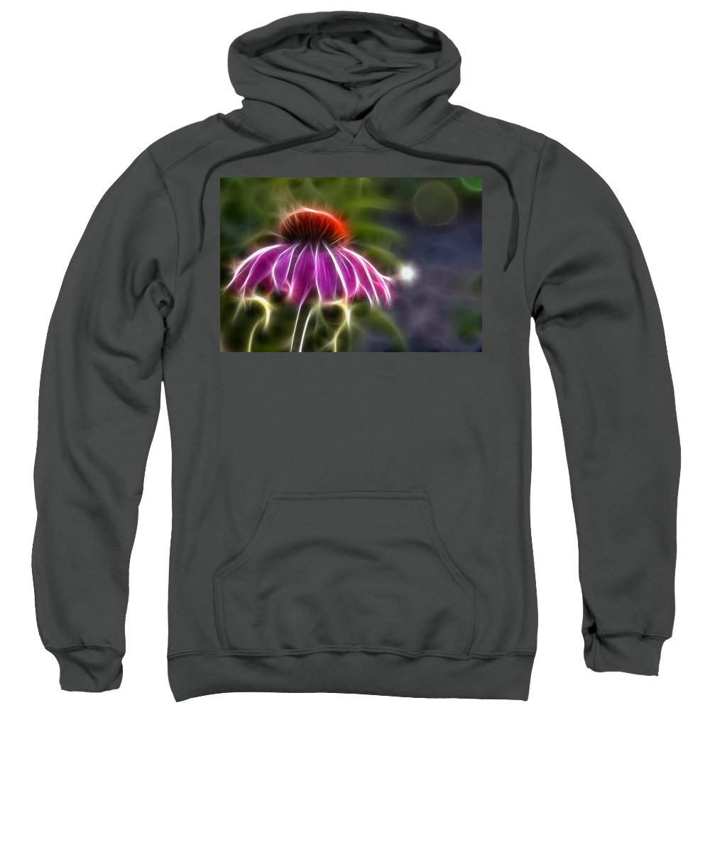 Fractal Sweatshirt featuring the photograph Electrified Coneflower by Lynne Jenkins