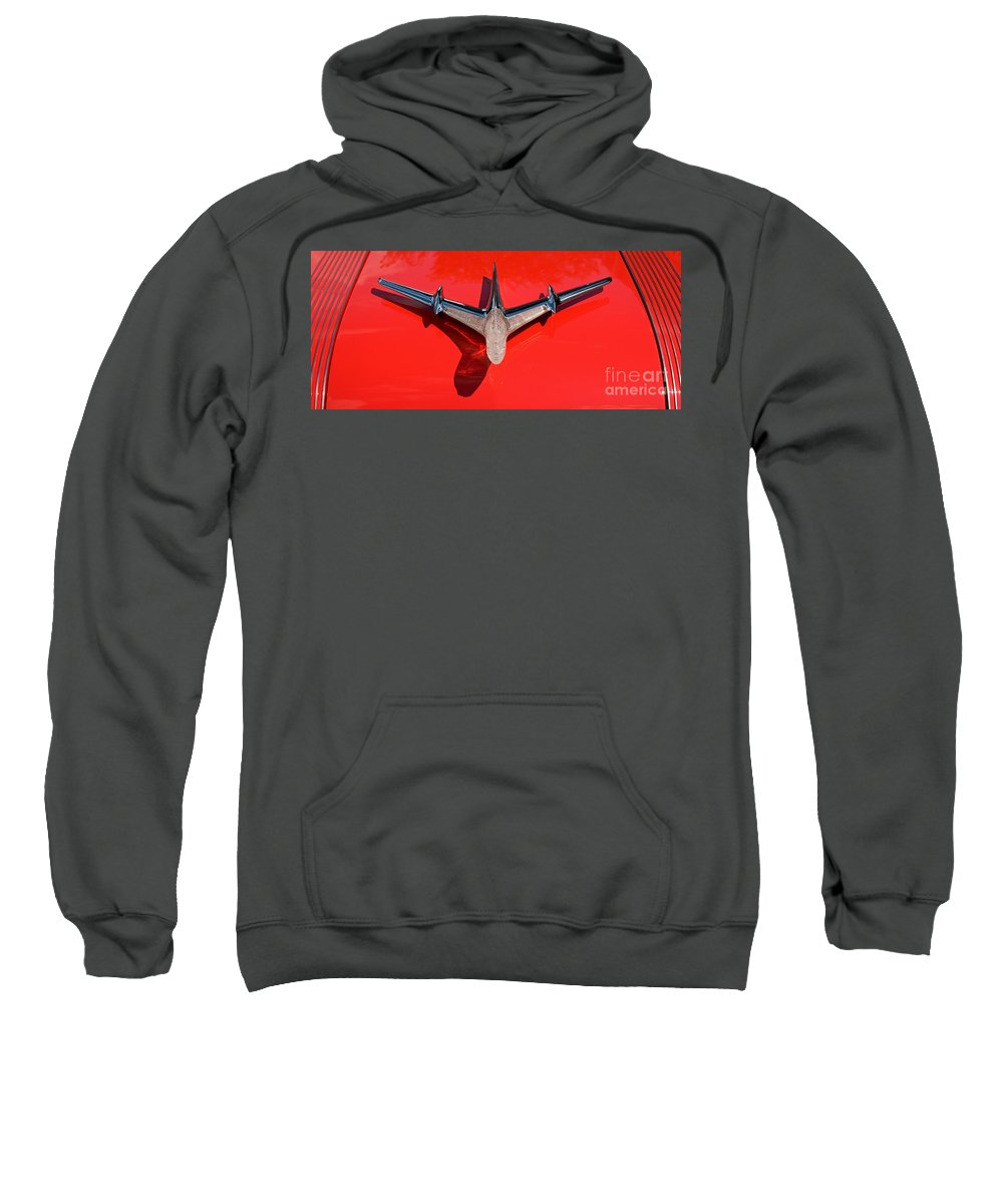 Car Sweatshirt featuring the photograph Emblem On Red 2 by Vivian Christopher