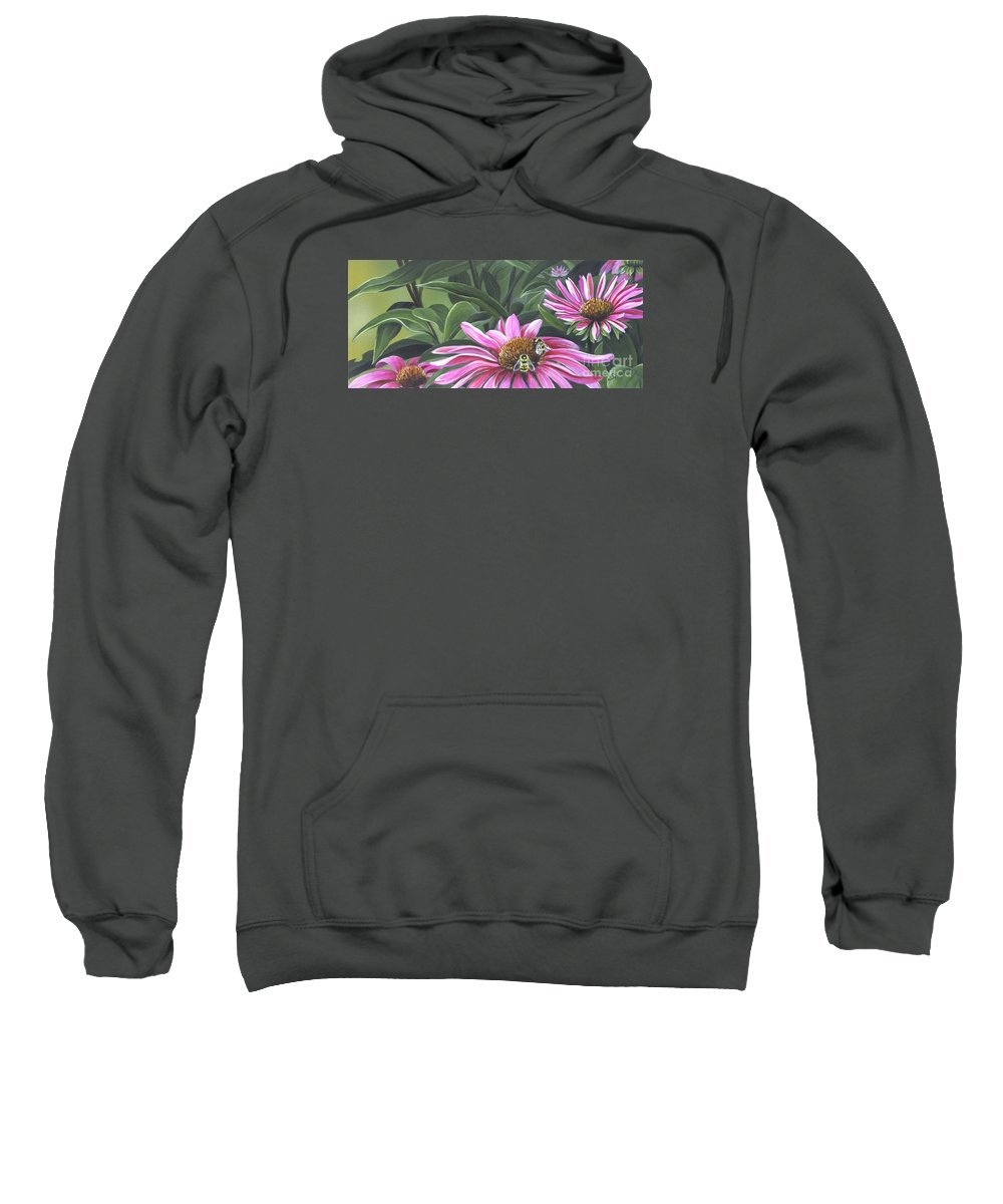 Flower Sweatshirt featuring the painting Enjoying The Flowers by Sharon Molinaro