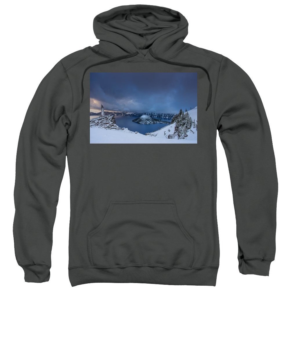 Cascades Sweatshirt featuring the photograph Enveloping Storm At Crater Lake by Greg Nyquist