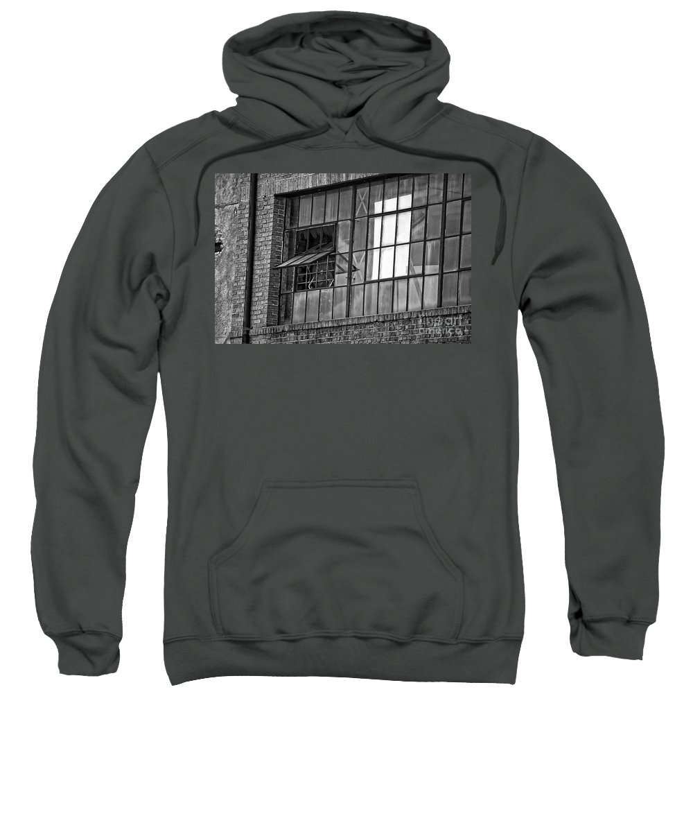 Window Sweatshirt featuring the photograph Factory Air In New Orleans In Black And White by Kathleen K Parker