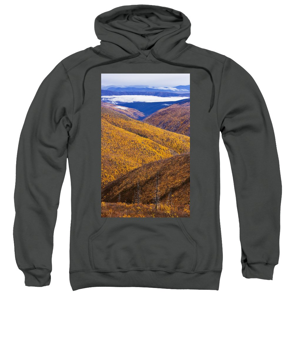 Canadian Sweatshirt featuring the photograph Fall Colours Along Top Of The World by Yves Marcoux