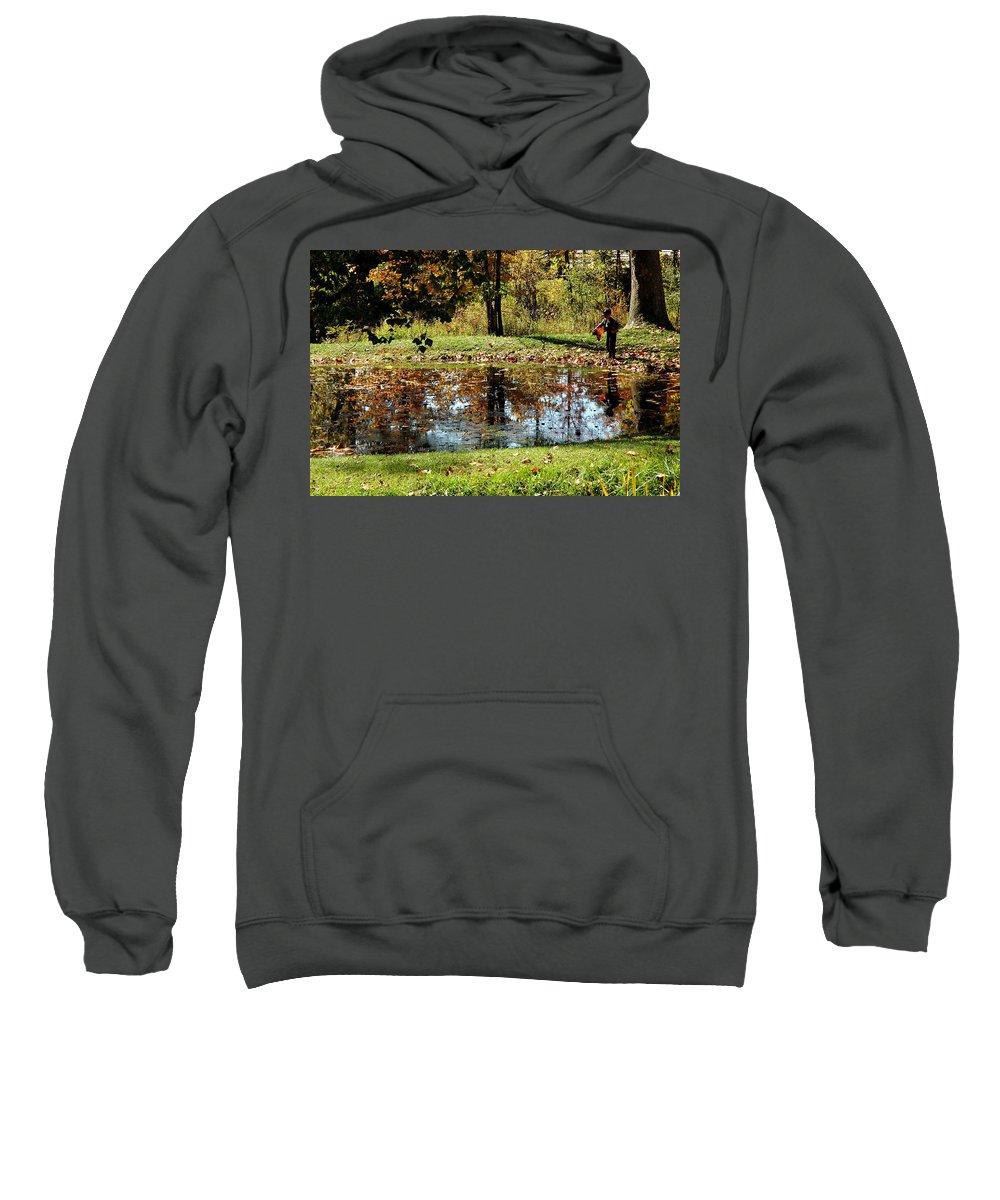 Usa Sweatshirt featuring the photograph Fall Frogging Got One by LeeAnn McLaneGoetz McLaneGoetzStudioLLCcom