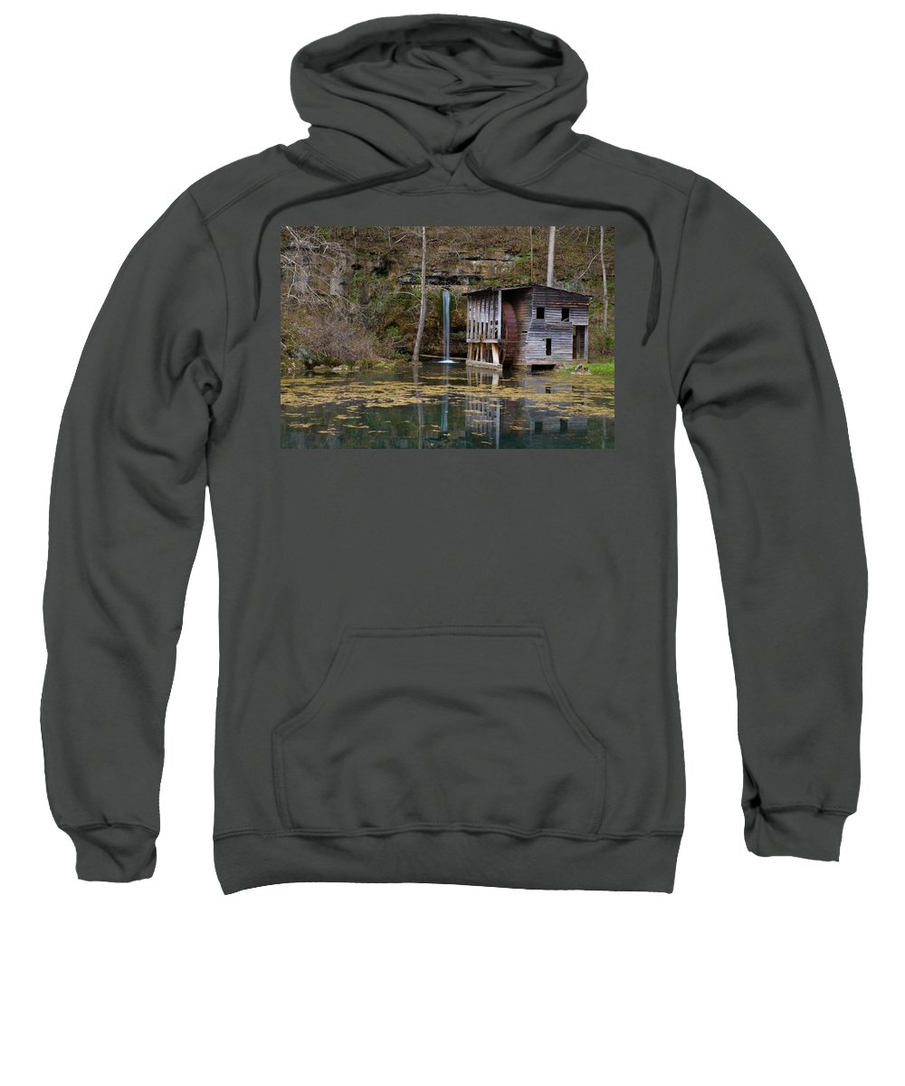 Ozarks Sweatshirt featuring the photograph Falling Spring Mill by Steve Stuller
