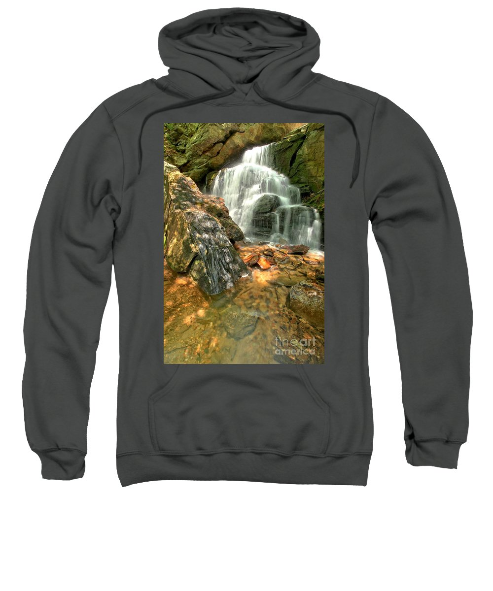 Hanging Rock State Park Sweatshirt featuring the photograph Falling Through The Rocks by Adam Jewell