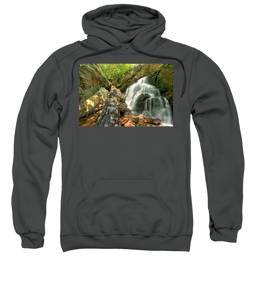 Hanging Rock State Park Sweatshirt featuring the photograph Falls Through The Rocks by Adam Jewell