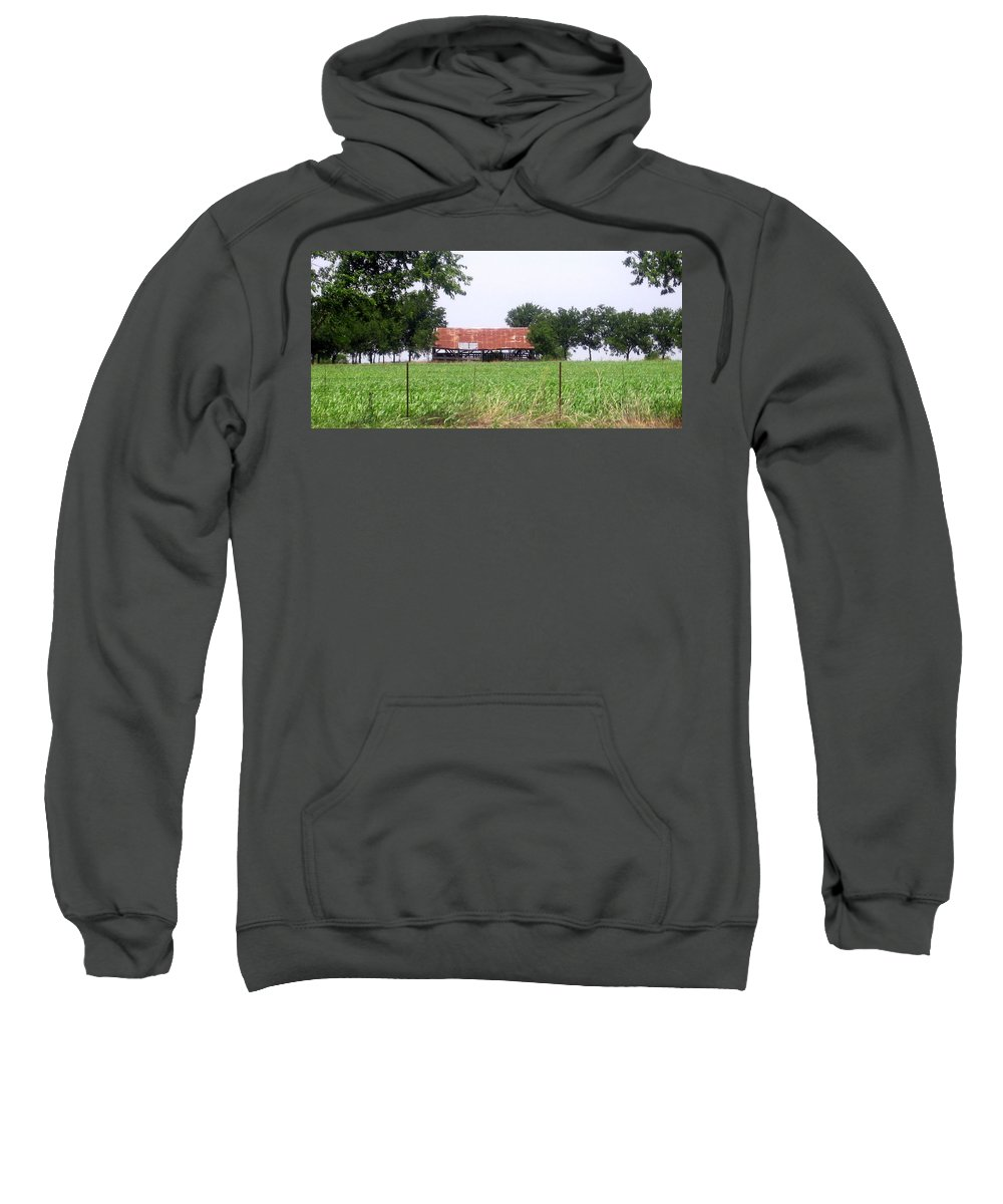 Country Sweatshirt featuring the photograph Feeding Barn by Amy Hosp
