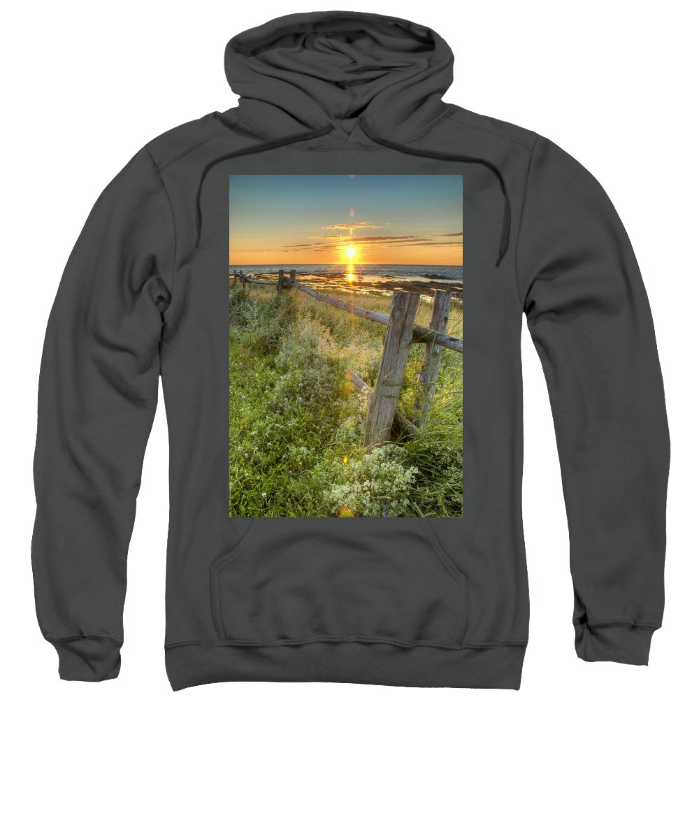 Blue Sky Sweatshirt featuring the photograph Fence Along The Shore by Philippe Widling
