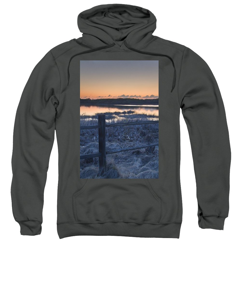 Scenic Sweatshirt featuring the photograph Fence By Lake At Sunset by Eryk Jaegermann