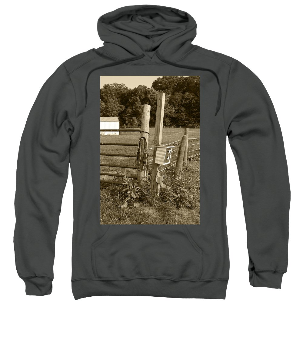 Fence Sweatshirt featuring the photograph Fence Post by Jennifer Ancker