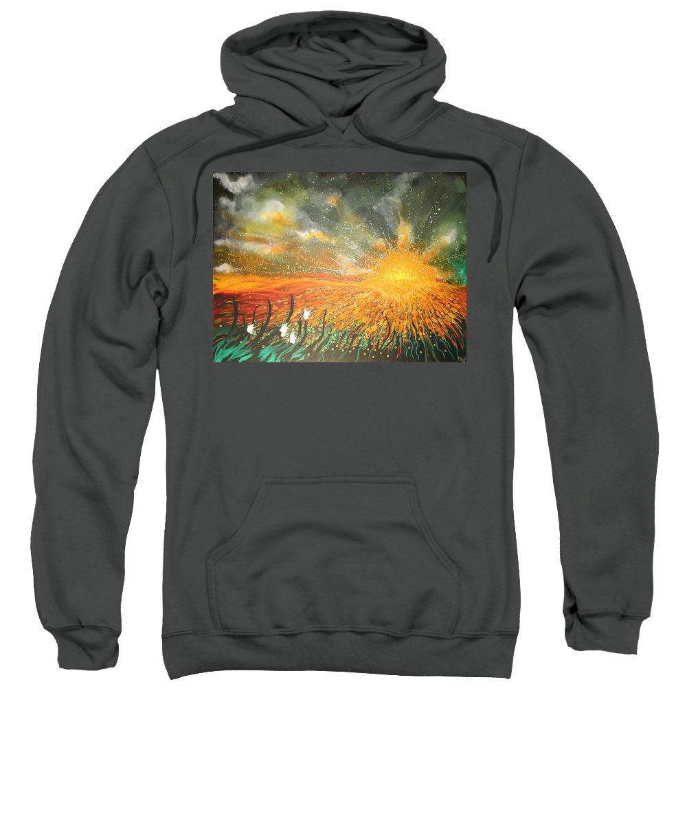 Sun Sweatshirt featuring the painting Field Of Gold by Naomi Walker