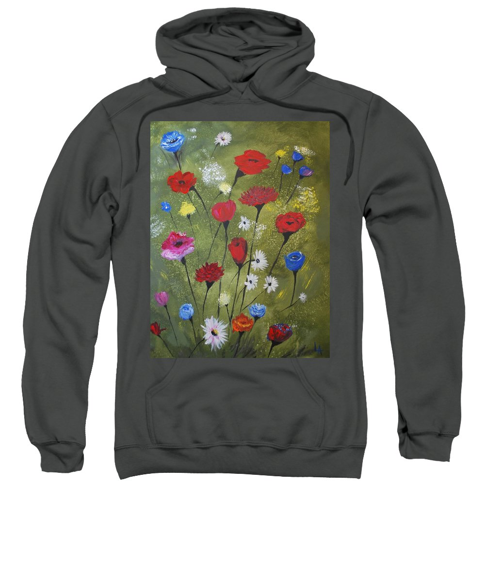 Poppy Painting Sweatshirt featuring the painting Floral Fields by Leslie Allen