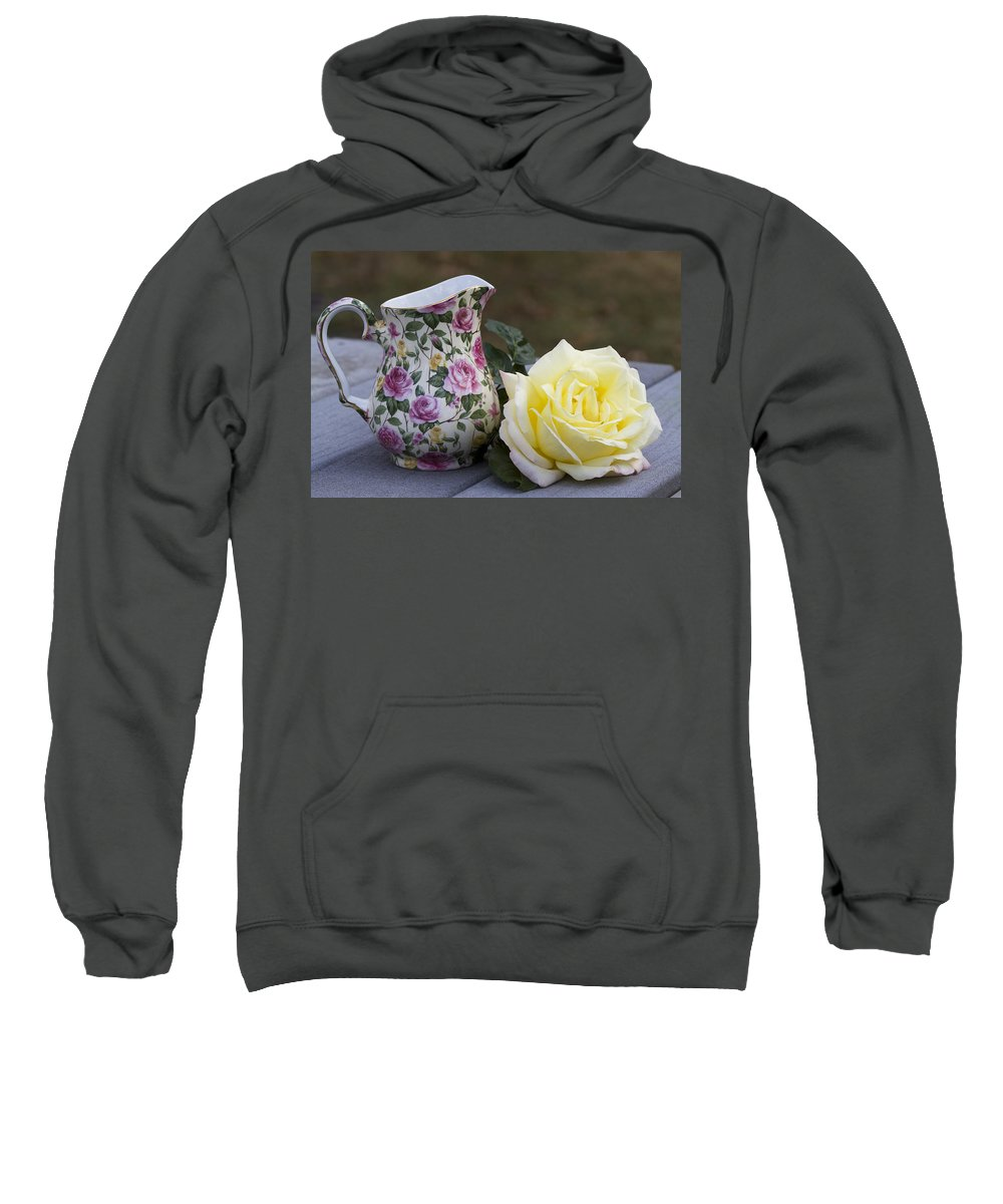 Peace Sweatshirt featuring the photograph Flowers Make Girls Happy by Kathy Clark