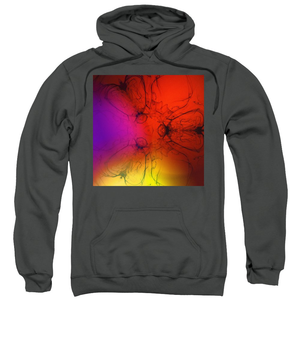 Fly Abstract Color Colorful Expressionism Fractal Composition Red Yellow Modern Art Sweatshirt featuring the digital art Fly by Steve K